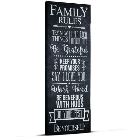 Crystal Art Family Rules Inspirational Text Wrapped Canvas Wall Art ()