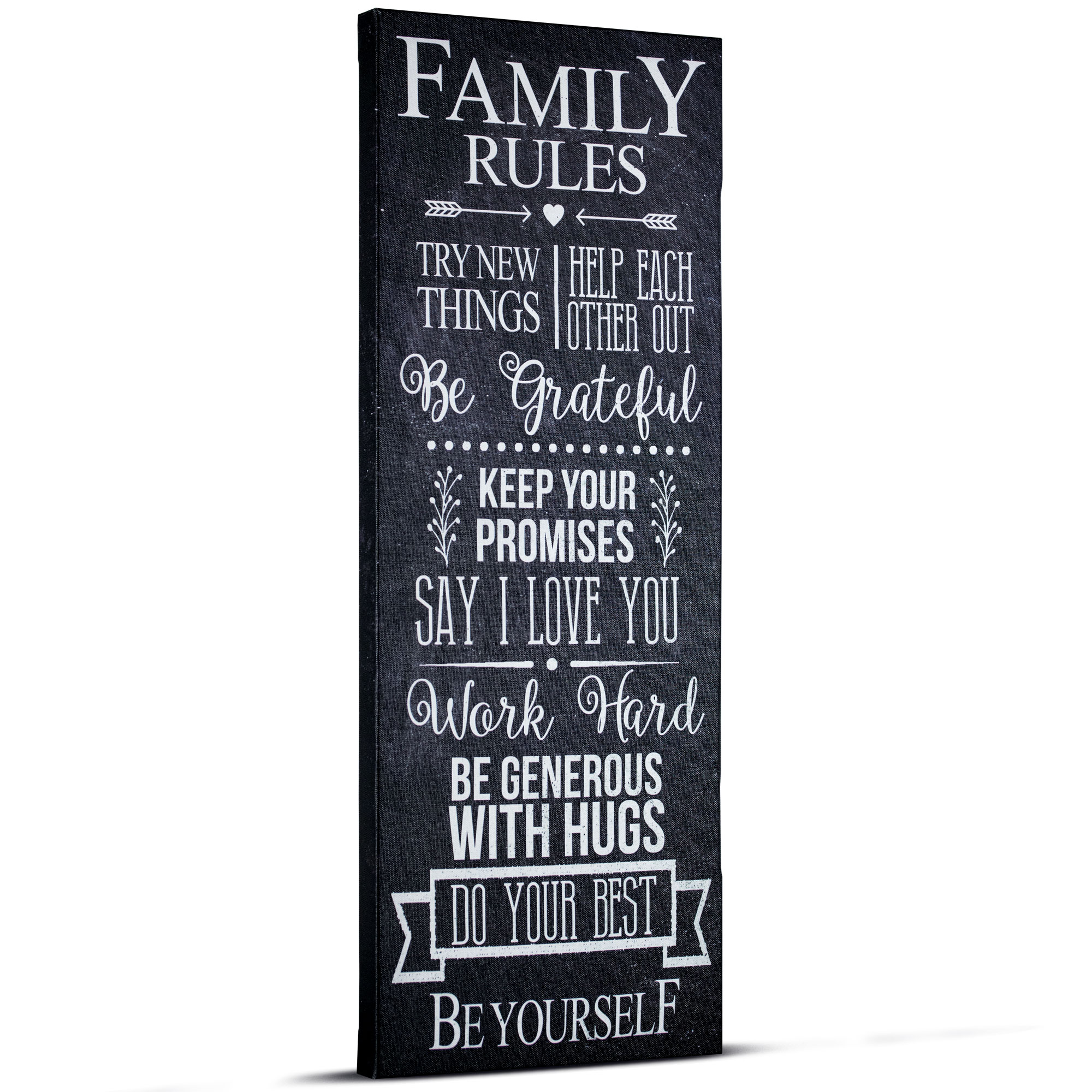 Crystal Art Family Rules Inspirational Text Wrapped Canvas Wall Art