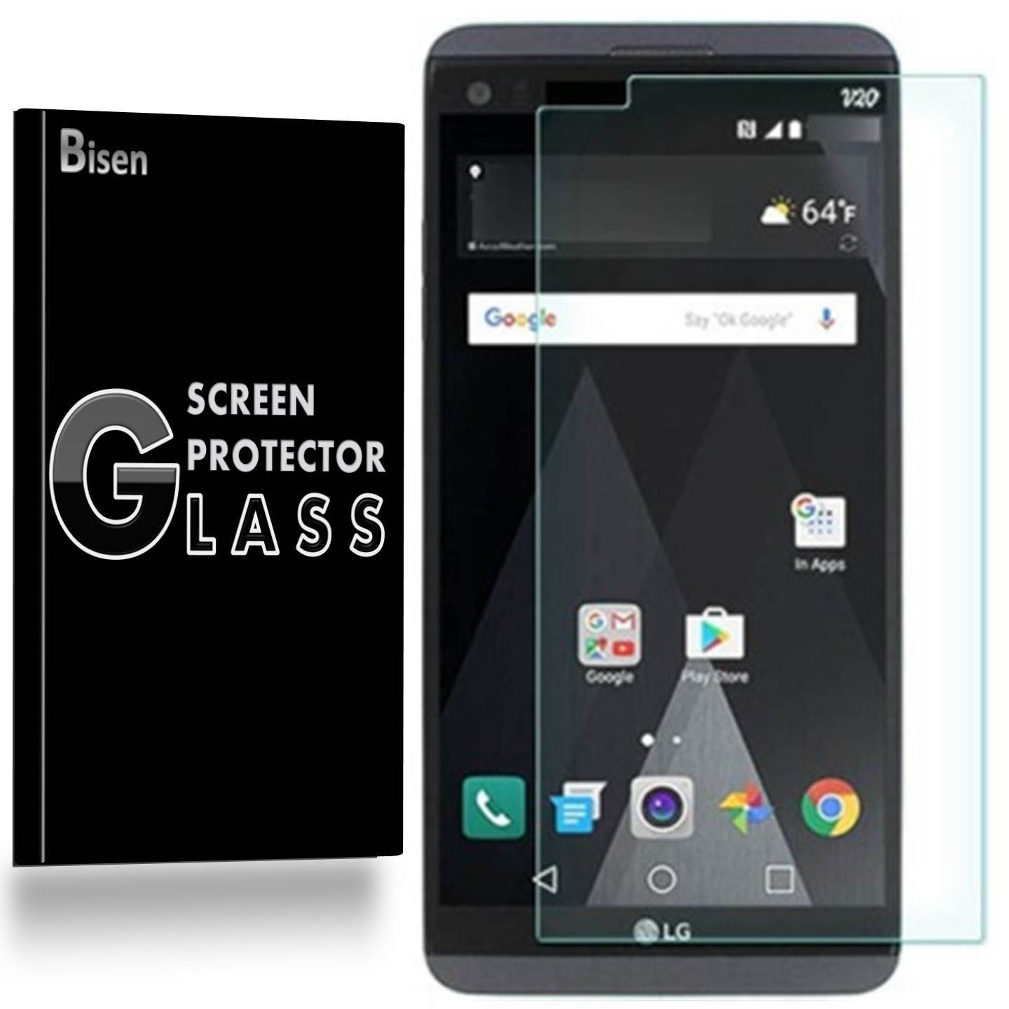 LG V20 [BISEN] 9H Tempered Glass Screen Protector, 0.2 mm Ultra Thin,  Anti-Scratch, Anti-Shock, Shatterproof, Bubble Free
