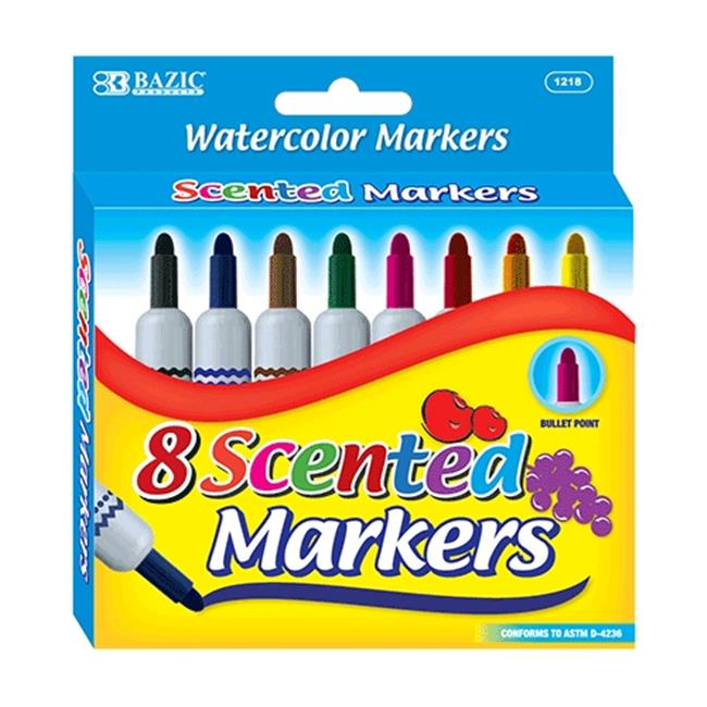 Bazic Products 1218-24 BAZIC 8 Color Scented Jumbo Watercolor Marker Case of 24