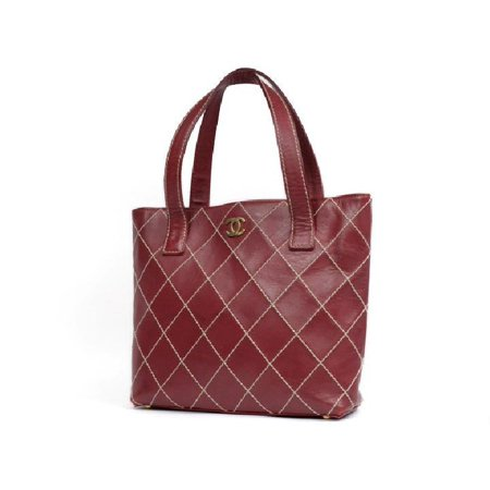 c99711d75a9 CHANEL - Chanel Quilted Burgundy Wild Stitch Tote 213524 Shoulder ...