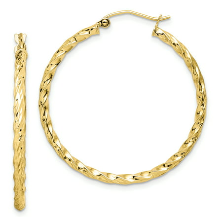 10k Yellow Gold Twisted 35mm Hoop Earrings Ear Hoops Set Fine Jewelry For Women Gifts For Her - image 6 of 6