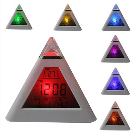 Pyramid LED Alarm Clock,7 Color Changing Digital Desk Clock with Natural Sound Thermometer Calendar,Creative Triangle Digital Display Gift For Kids Friend