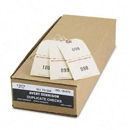 Avery 18670 Numbered Perforated Paper/Twine Claim Checks  4-3/4 x 2-3/8  Manila  500 per Box - image 1 of 1