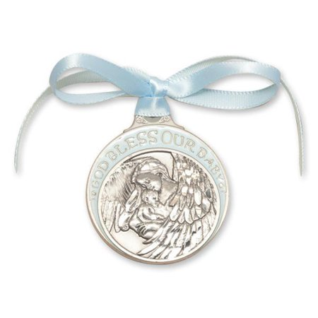 Blue Guardian Angel with Baby Crib Medal in Pewter