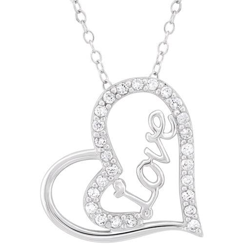 "CZ Sterling Silver Love Heart Pendant, 18"""