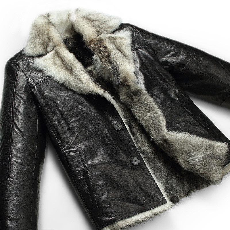 Mens Shearling Fur Lined Leather Coat by leatherHERE