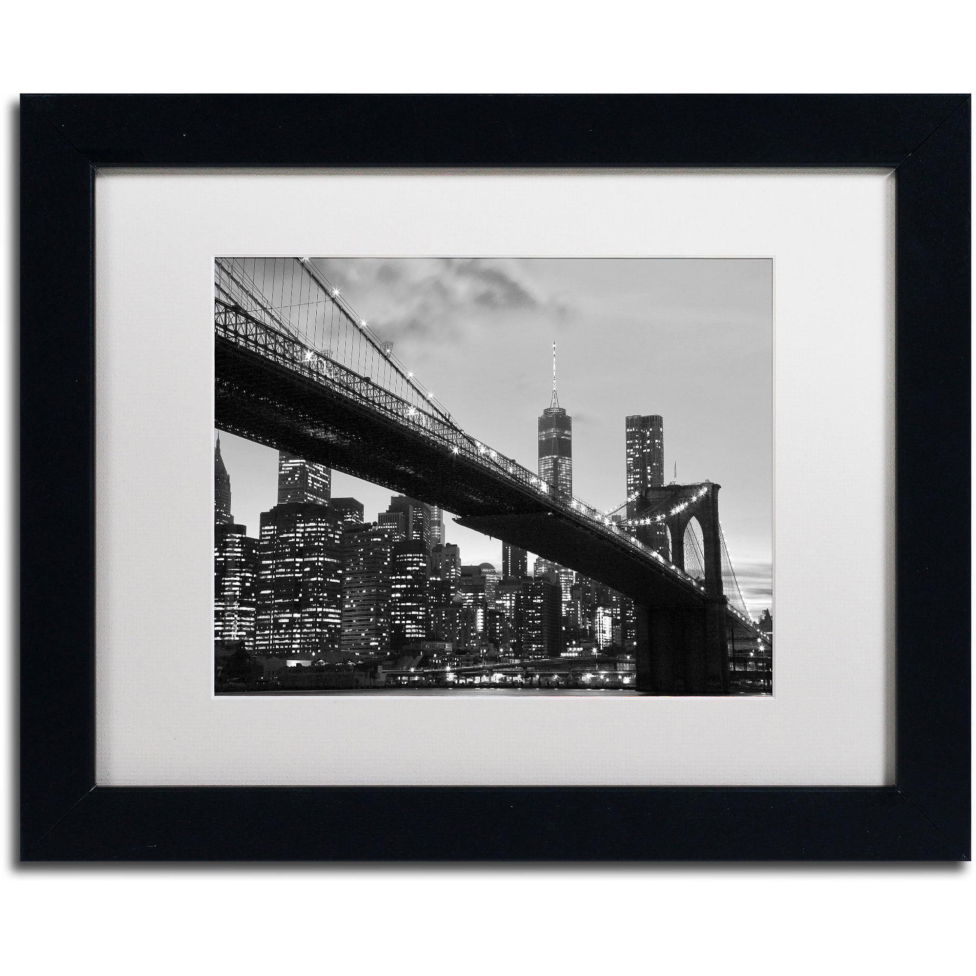 "Trademark Fine Art ""Brooklyn Bridge 5"" Canvas Art by CATeyes, White Matte, Black Frame"