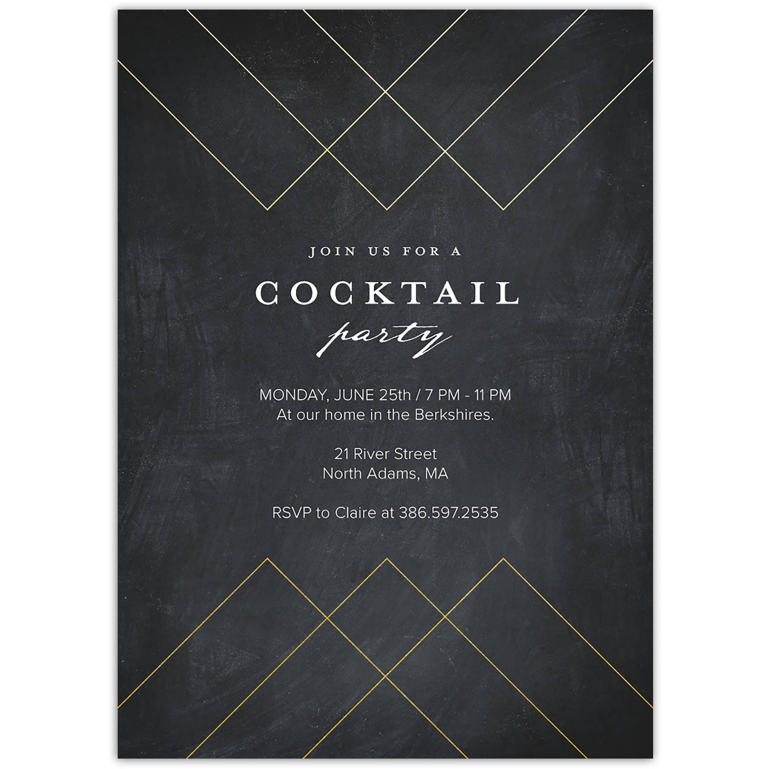 Gilded Sophistication Party Cocktail Invitation
