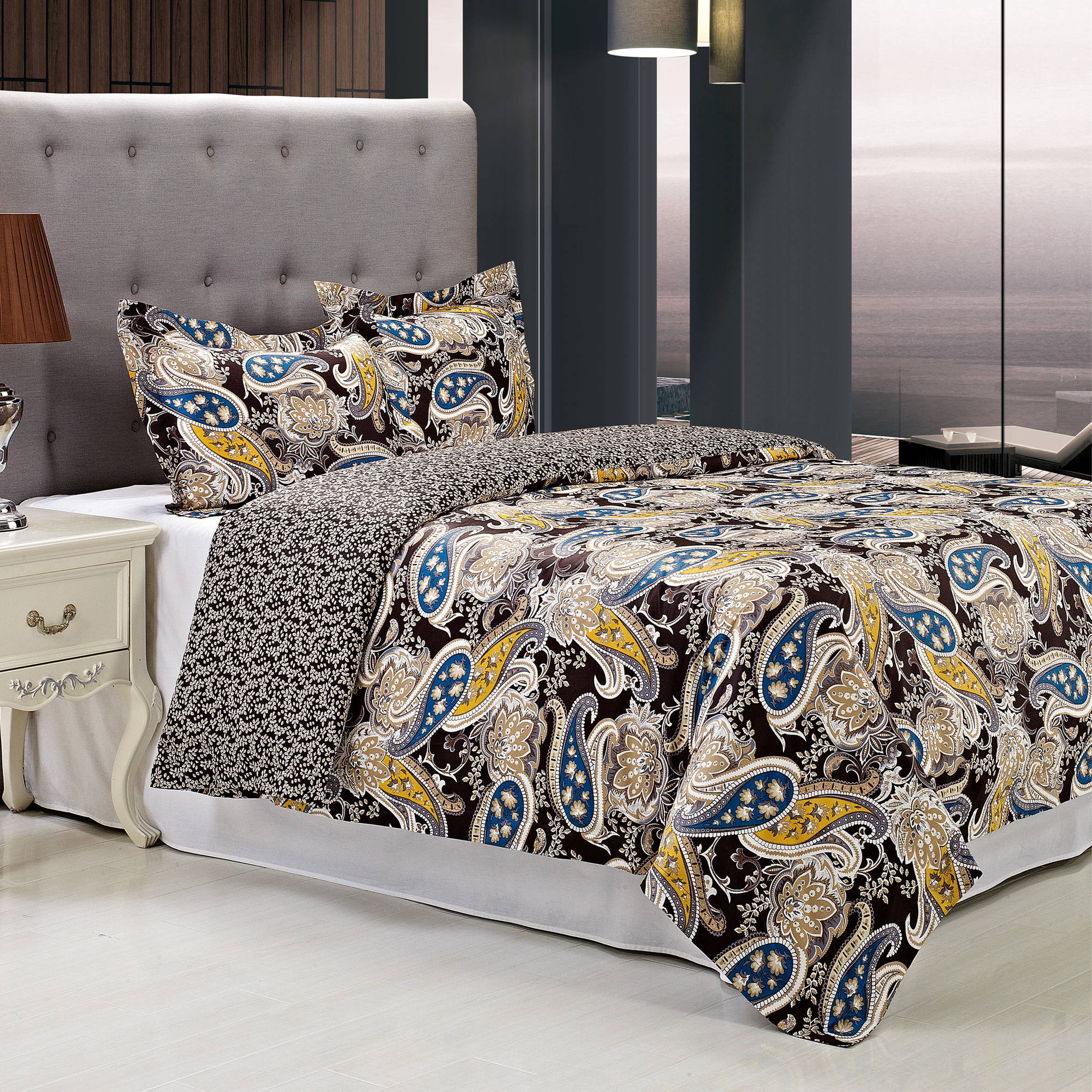 Superior Midnight Reversible 300 Thread Count Cotton Reactive Print Duvet Cover Set