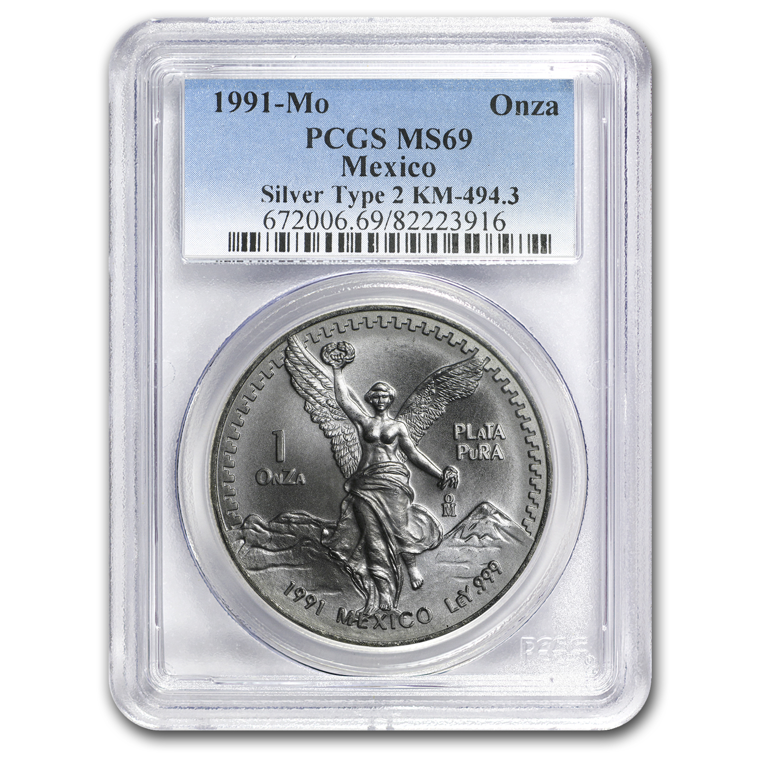 1991 Mexico 1 oz Silver Libertad Type 2 MS-69 PCGS