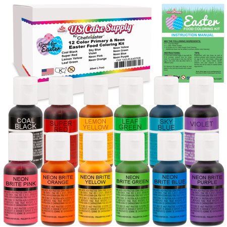 12 Color Cake Food Coloring Liqua-Gel Easter Egg Decorating Baking Set - U.S. Cake Supply .75 fl. Oz. (20ml) Bottles