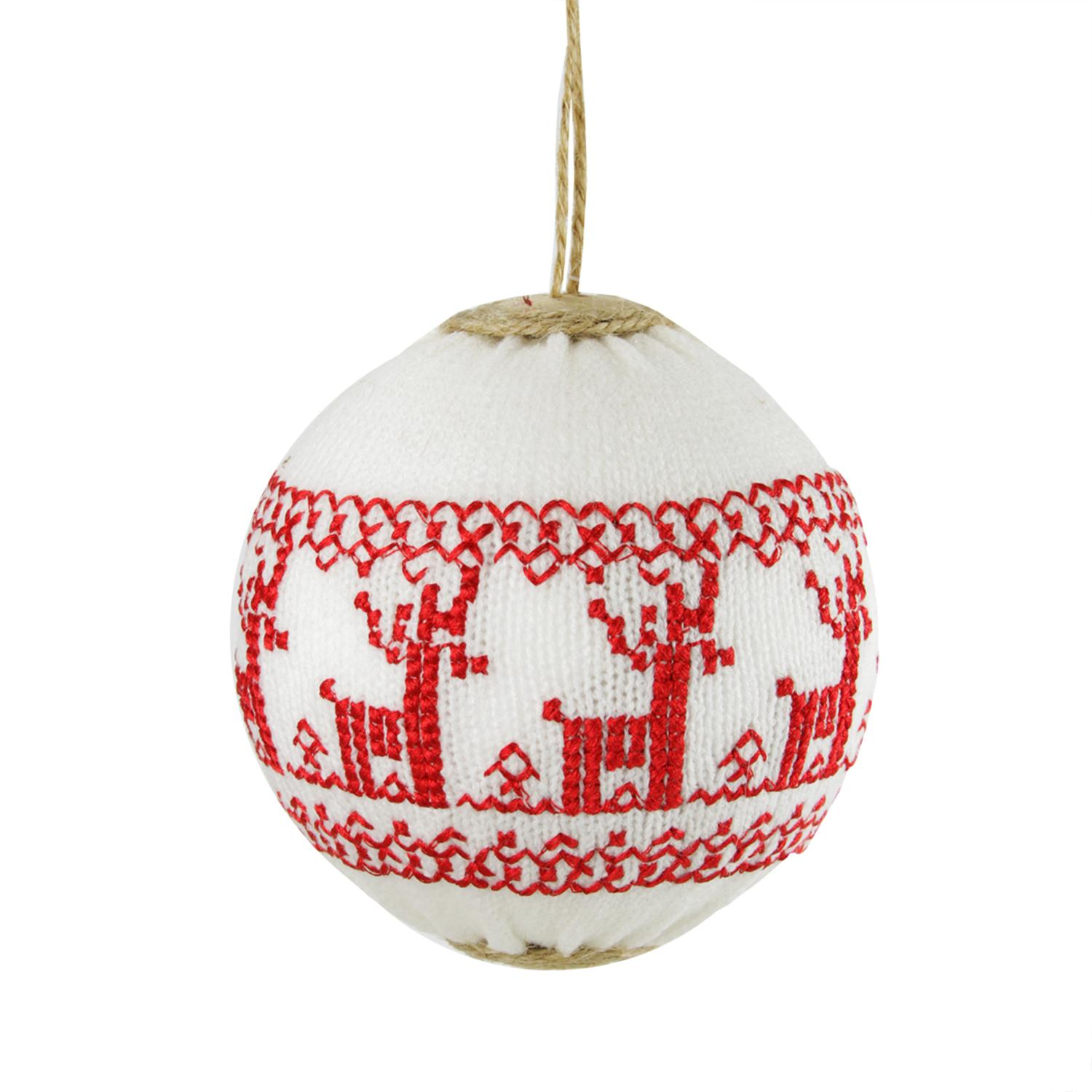 """4"""" Alpine Chic White with Red Deer Nordic Design Christmas Ball Ornament - image 1 of 1"""