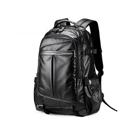 Vielzahl von Designs und Farben Details für 2019 professionell Men's Leather Backpack Waterproof Laptop School Shoulder Bag Travel  Rucksack Black