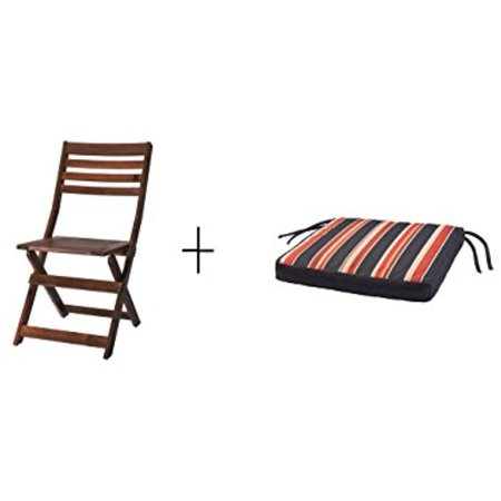 Ikea Chair, outdoor, brown brown stained foldable brown stained, Chair pad, outdoor, black, stripe 15 3/4x15 3/4