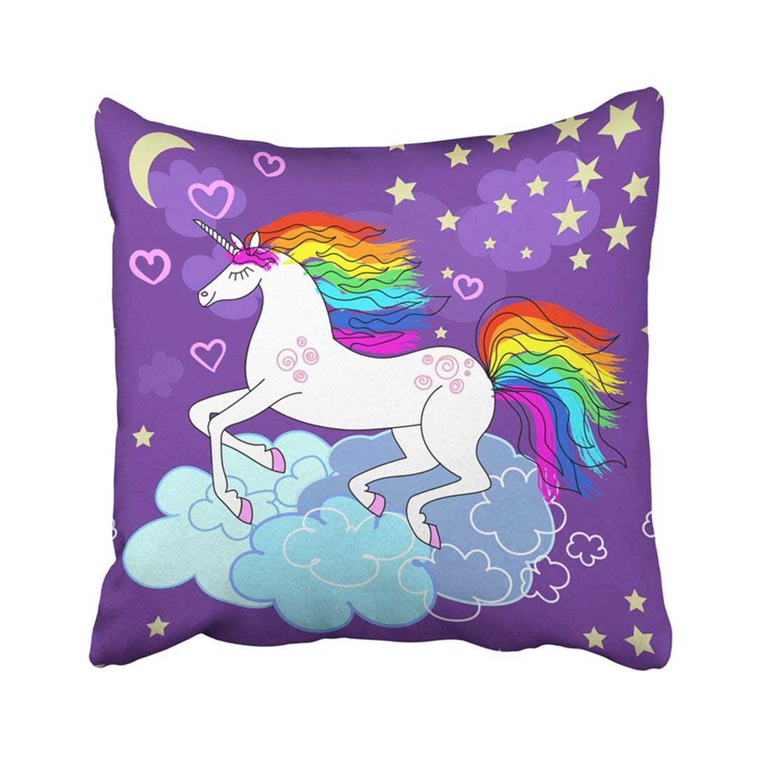 ARTJIA Colorful Cartoon Beautiful Rainbow Unicorn Pink Horse Sky Abstract Animal Baby Children Pillowcase Pillow Cover 18x18 inches
