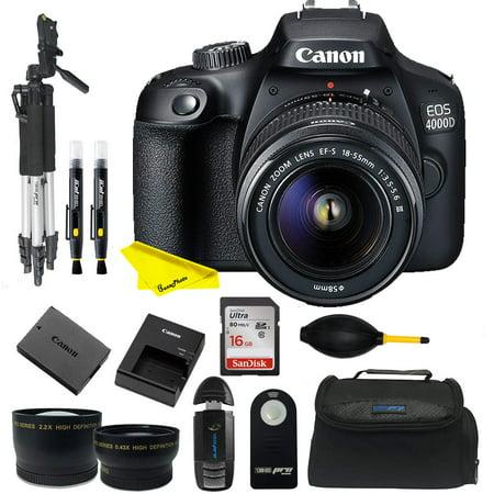 Canon EOS 4000D DSLR Camera EF-S 18-55 mm f/3.5-5.6 III Lens + Buzz-photo Starter Bundle Kit
