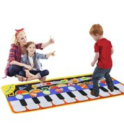 Musical Piano Mat,Keys Piano Keyboard Play Mat Children Foot Touch Play Portable Musical Blanket Build-in Speaker & Recording Function