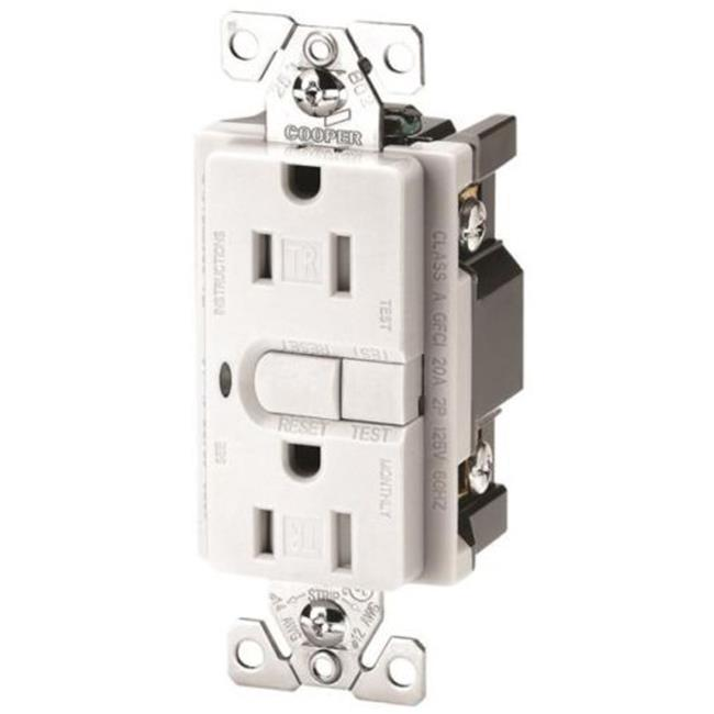 Cooper Wiring 9566TRSWS Receptacle Gfci Tr St 15Amp 2P3W Ws