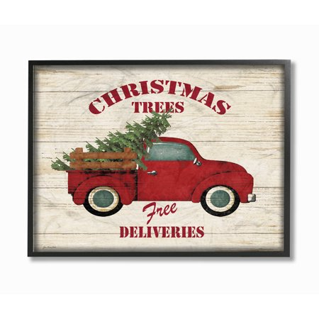 Merry Christmas Plaque - The Stupell Home Decor Collection Merry Christmas Vintage Tree Truck Framed Giclee Texturized Art