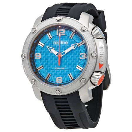 Redline Blue Dial Black Rubber Strap Men's Watch