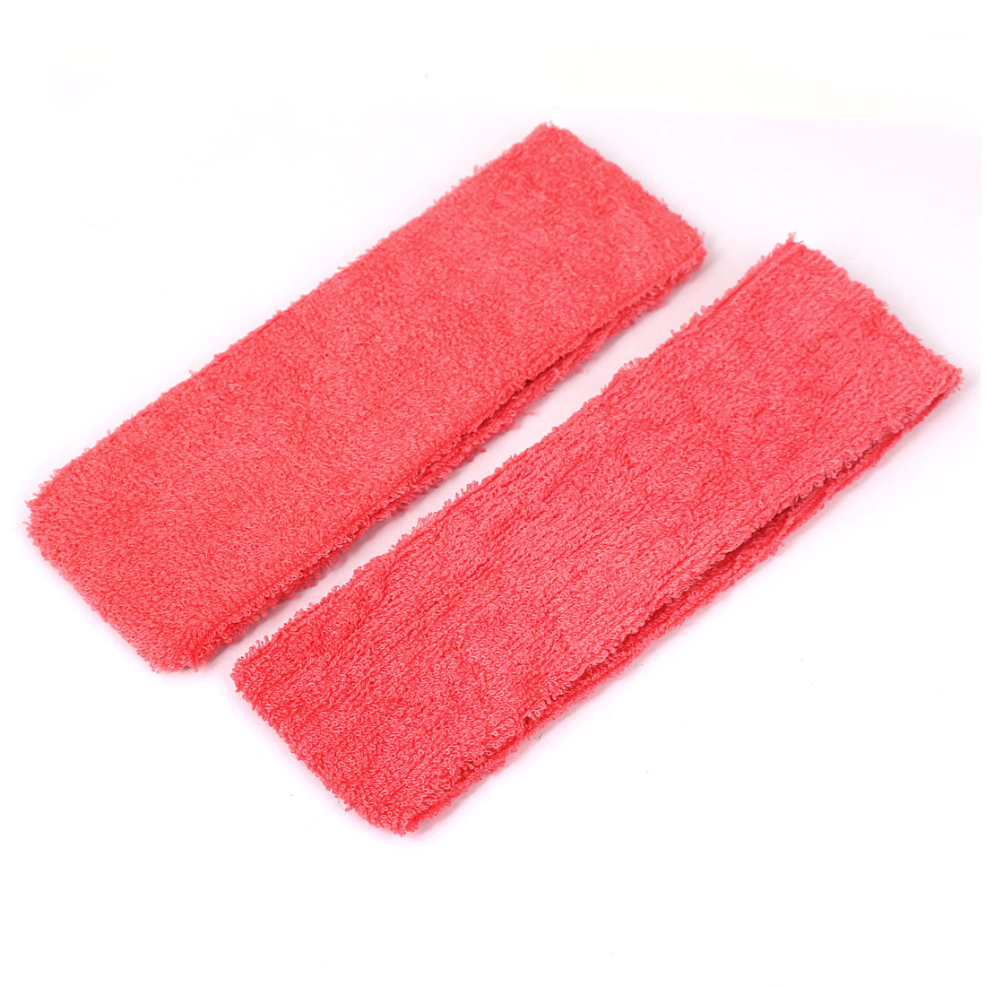 Unique BargainsCotton Stretchable Athletic Sports Makeup Shower Headband Red 2 Pcs