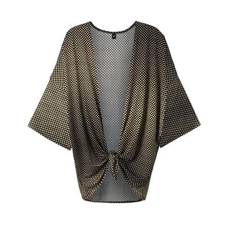 Multi Print Sweater - WT1577 Womens Printed Kimono Shawl Cardigan Top - Made in USA OS Brown_Polka