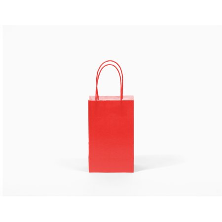 12 CT Small Red Kraft Bags, Paper Gift Bags, FOOD SAFE INK & PAPER(STURDY & THICKER), Kraft Bag With Colored Sturdy Handle