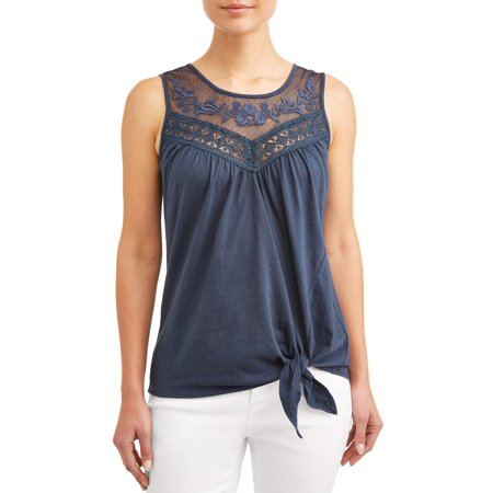 Women's Tie Front Embroidered Tank Top (Embroidered Sleeveless Tie)