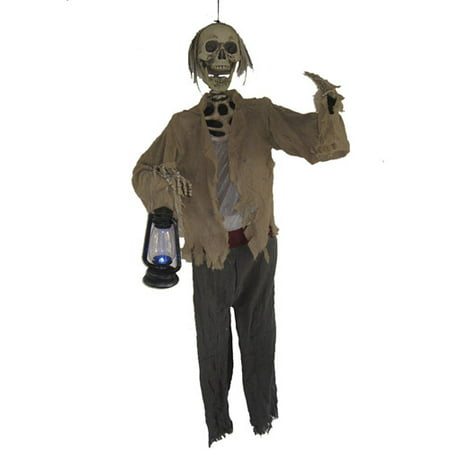 Life-Size Skeleton with Light-Up Lantern Halloween Prop