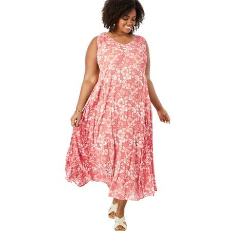Woman Within - Plus Size Petite Sleeveless V-neck Crinkle Dress -  Walmart.com