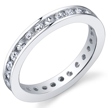 - Sterling Silver Eternity Cubic Zirconia CZ Wedding Band Ring