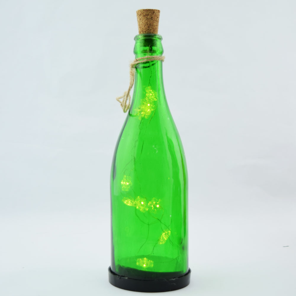 """12"""" Green Snowflake LED Wine Bottle Fairy Light Glass Christmas Holiday Decoration, Battery Operated by Asian Import Store, Inc."""
