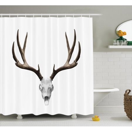 Antlers Decor Shower Curtain Set, A Deer Skull Skeleton Head Bone Halloween Weathered Hunter Collection, Bathroom Accessories, 69W X 70L Inches, By Ambesonne](Halloween Bathroom Decor Ideas)