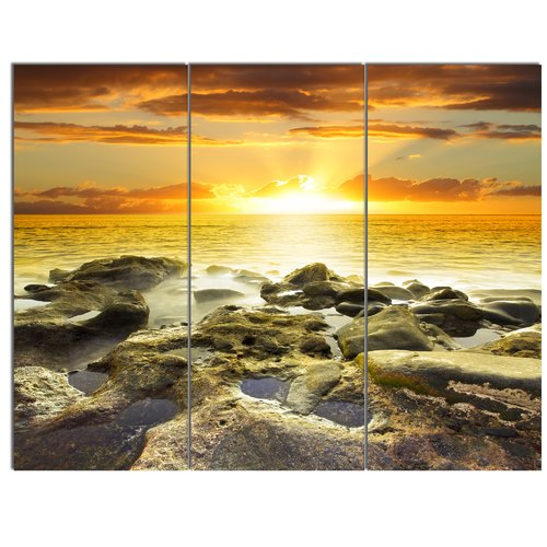 Design Art 'Beautiful Orange Sundown Beach' 3 Piece Photographic Print on Wrapped Canvas Set