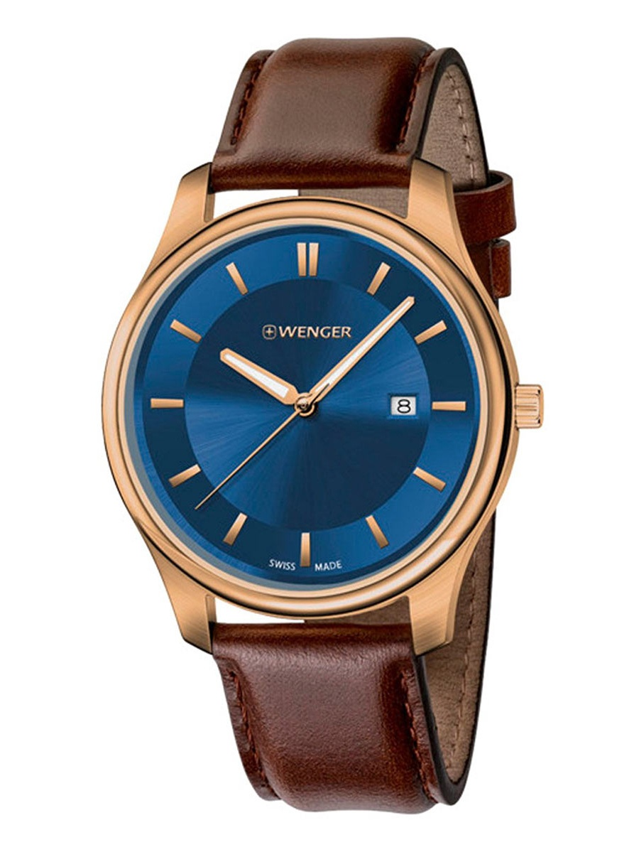 01.1441.119 Men's City Classic Blue Dial Brown Leather Strap Watch