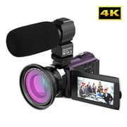 Andoer 4K 1080P 48MP WiFi Digital Video Camera Camcorder Recorder with 0.39X Wide Angle Macro Lens 3inch Capacitive Touchscreen IR Infrared Night Sight