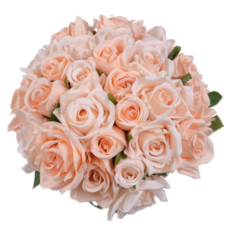 2 Pack Artificial Flowers Rose Bouquet Fake Flowers Silk Plastic Artificial Roses 18 Heads Bridal Wedding Bouquet for Home Garden Party Wedding Decoration (Champagne)