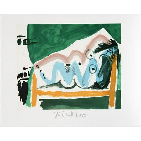 Pablo Picasso 47611 Ne Allongee Et Tete Dhomme De Profil  44  Lithograph On Paper 29 In  X 22 In    Green  44  Yellow  44  Blue  44  Black