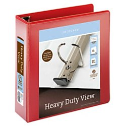 "Office Depot® Brand Heavy-Duty Easy Open® D-Ring View Binder, 3"" Rings, 54% Recycled, Red"