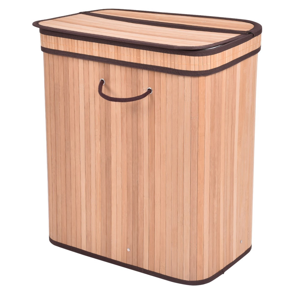 Large Rect Bamboo Laundry Hamper Basket with Lid - Natural Wood Brown
