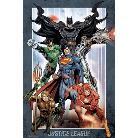 Batman Poster (Justice League Of America - JLA - DC Comics Poster / Print (Superman, Batman, The Flash, The Green Lantern & Aquaman) (Size: 24