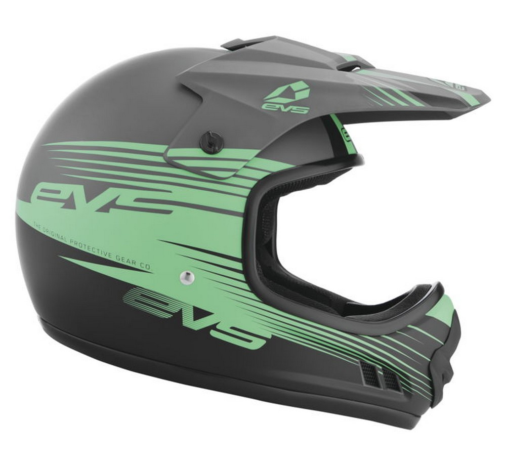 EVS T3 Works Youth MX Offroad Helmet Matte Gray/Green