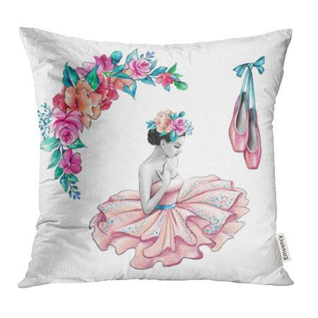CMFUN Ballet Watercolor Ballerina in Pink Dress Flowers Shoes Retro Accessories White Rose Pillow Case Pillow Cover 16x16 inch Throw Pillow Covers