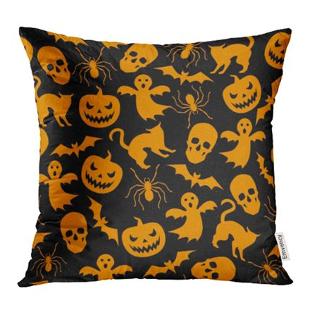 ARHOME Orange Haloween Halloween with Ghost and Pumpkin Black Pattern Helloween Cat Spider Pillow Case Pillow Cover 20x20 inch Throw Pillow Covers - Halloween Pumpkin Patterns Cat