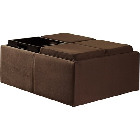Cocktail storage ottoman with 4 trays c walmartcom for Storage ottoman walmart