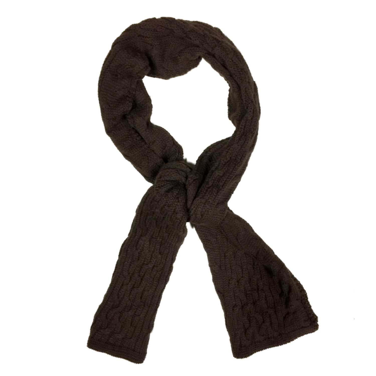 Fownes Womens Chocolate Brown Cable Knit Winter Neck Scarf