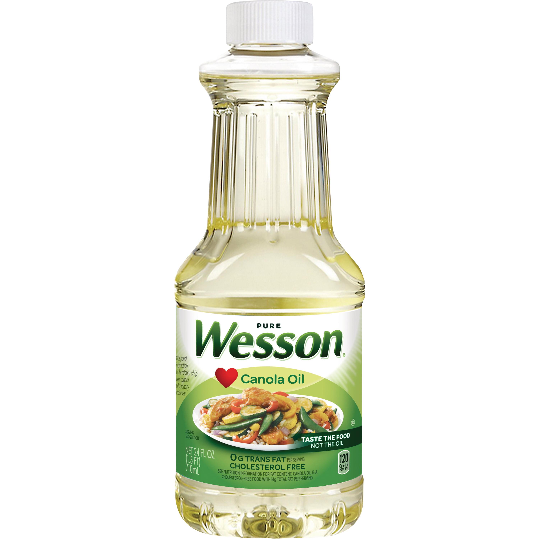 WESSON Pure Canola Oil 0 g Trans Fat Cholesterol Free 24 oz.