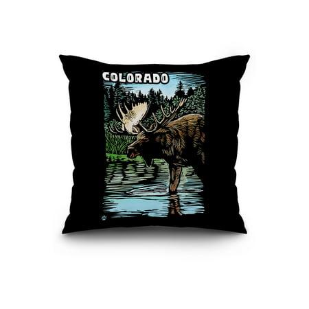 Colorado Moose Scratchboard Lantern Press Artwork 20x20 Spun Polyester