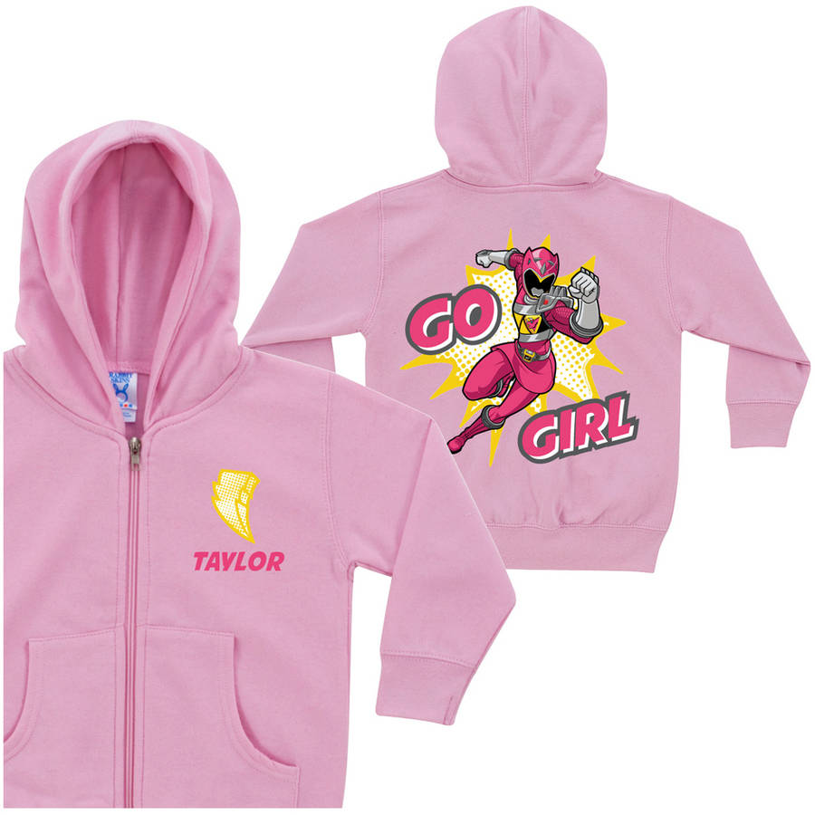 Personalized Power Rangers Go Toddler Girls' Pink Ranger Zip-Up Hoodie